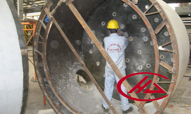 FRP lining for steel tank